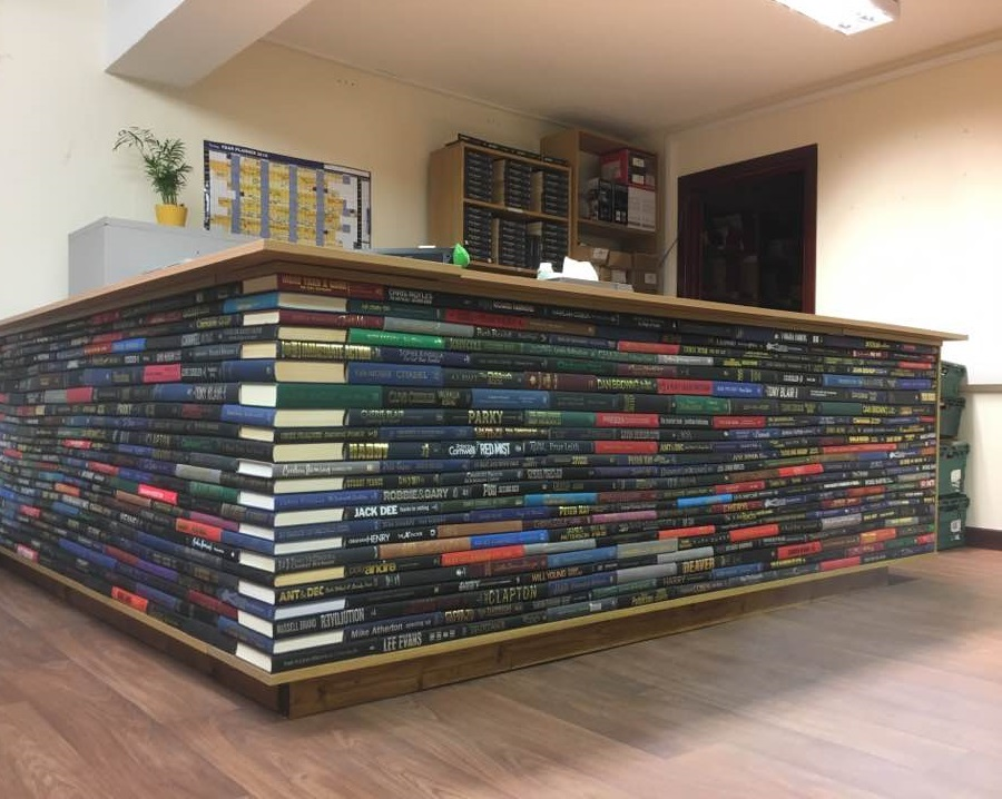 cool desk made of hard back books